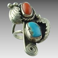 "Native American Turquoise And Coral Signed ""Adkey"" Elongated Sterling Silver Ring"