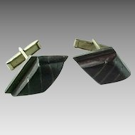 Vintage Taxco Sterling Silver Carved Ebony Cuff Links