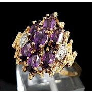 Beautiful Vintage 10 Karat Yellow Avant Garde 1.50 Carat Amethyst & Diamond Ring.