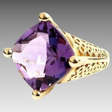Gorgeous Handmade 10K Yellow Gold 7.00 Carat Antique Cushion Cut Amethyst Filigree Ring. #L872