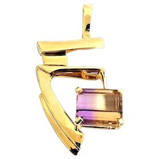 Gorgeous Handcrafted 14K Yellow Gold 4.25 Carat Emerald Cut Ametrine Modernist Pendant. #L875