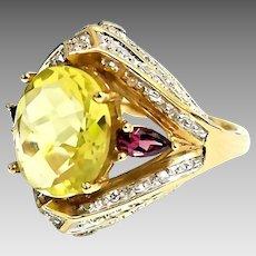 Beautiful Custom 10K Yellow Gold 5.00 CTW Apple Green Quartz, Rhodolite & Diamond Cocktail Ring. #L863.