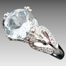 Gorgeous Handmade Vintage Inspired 14 Karat White Gold 3.00 Carat Aquamarine & Diamond Ring. #L869.