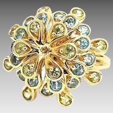 Gorgeous Handmade 10 Karat Yellow Gold 1.50 Carat Peridot & Aquamarine Floral Cocktail Ring. #L881.