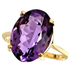 Unique Custom 14 Karat Yellow Gold 6.00 Carat Oval Cut Natural African Amethyst Ring. #VR65