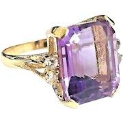 Beautiful Handmade 14 Karat Yellow Gold 7.50 CTW Natural Emerald Cut Amethyst and Diamond Ring.