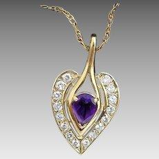 "Beautiful Handmade 14K Yellow Gold 1.25 Carat African Amethyst & Diamond Calla Lily Heart ""LOVE"" Pendant W/ 14K Gold 20"" Necklace #V03"