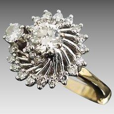 Beautiful Handmade Art Deco Era 14 Karat White & Yellow Gold VVS 1.00 Carat Diamond Engagement Ring.