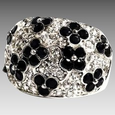 Gorgeous 14 Karat White Gold 15mm Paved 6.00 CTW Black & White Sapphire Floral Tapered Band. #L175