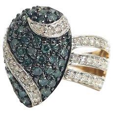 Unique Custom 14 Karat Yellow & White Gold 2.00 CTW Blue and White Diamond Ring. #L867.