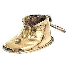 Antique 14 Karat Yellow Gold Baby Shoe Charm Pendant #VC35