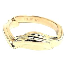 Unique Custom Made 14 Karat Yellow Gold 8.5mm Wedding Band Ring #VR34