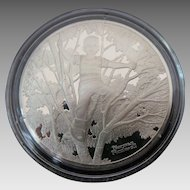 Rare Silver Proof 1 oz Sterling Silver Norman Rockwell Collectable Coin ~ BIRCHES~