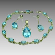 Gorgeous 10K Yellow Gold Blue Topaz Parure ~ Bracelet, Enhancer Pendant, Earrings~
