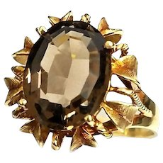 Victorian Era 14 Karat Yellow Gold 4.00 Carat Oval Smokey Quartz Floral Cocktail Ring