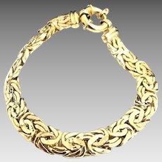 """Solid Handmade 18 Karat Yellow Gold 8.5mm Flat Byzantine 7"""" Bracelet #V13"""
