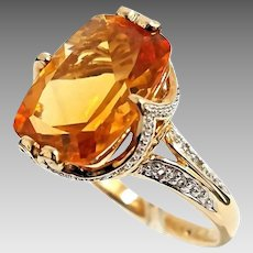 Gorgeous Handmade 14 Karat Yellow Gold 6.50 CT Cushion Cut Citrine & Diamond Cocktail Ring. #L873