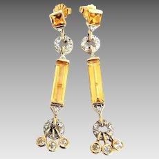 Elegant 14 Karat Yellow Gold Citrine And White Topaz Dangle Post Earrings. #L905