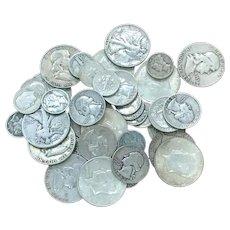 1 LB 90% U.S Silver Coins Half Dollars Quarters Dimes Mixed Lot Full Dates #DV02