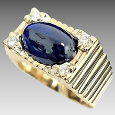Stunning Custom Handmade 14 Karat Yellow Gold Natural 11.00 CTW Blue Cabochon Sapphire & Diamond Ring.