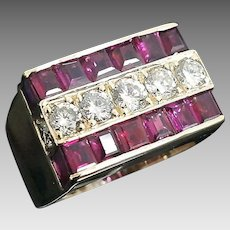 Stunning Handcrafted 14 Karat Yellow Gold 3 Row 6.00 Carat Natural Channel Set Diamond & Ruby Ring.