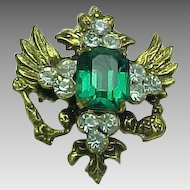 Coro Craft brooch, green paste & clear rhinestone