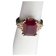 10k Gold Yellow Gold 3.15 ctw Ruby,White Spinel & Diamond Ring
