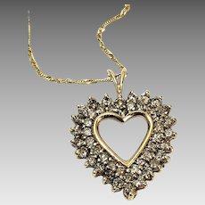 Custom Handcrafted 10 Karat Yellow Gold 2.50 CTW Champagne Diamond Heart Pendant. #VP42