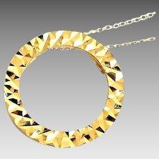 "Beautiful 14 Karat Yellow Gold Diamond Cut 20mm Circle Pendant W/18"" Chain Necklace #VN40."