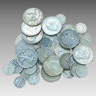 $5.00 U.S Silver 90 % Coins, Pre 1964 Half Dollars, Quarters, Dimes Mixed Lot All Full Dates DV010