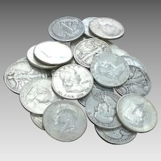 Lot of 12 Walking Liberty, Franklin and 1964 Kennedy 90% Silver Half Dollars (4) of Each #DV07