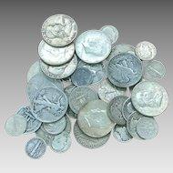 1/4 LB (4) Ounces 90% U.S Silver Coins, Pre 1964  Half Dollars, Quarters, Dimes   Mixed Lot All Full Dates #DV09