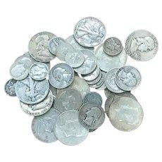 $10.00 U.S Silver 90% Coins Half Dollars Quarters Dimes Mixed Lot All Full Dates DV104
