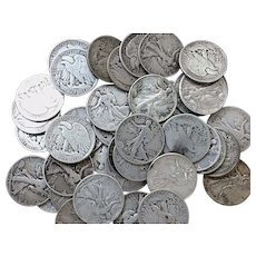 Lot of 12 Walking Liberty Half Dollars 90% Silver Coins All Full Dates #DV05                                          1916-1947