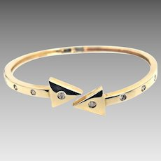 Custom 14 Karat Yellow Gold 1/2 Carat 10.50mm Hinged Diamond Arrow Bangle #L897.