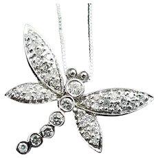 "Stunning Handmade 14 Karat White Gold Diamond Dragonfly Journey Pendant & 14K 18"" Chain."