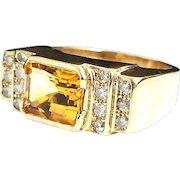 Stunning Handcrafted 14 Karat Yellow Gold 5.00 Carat Emerald Cut Citrine & Diamond Ring.