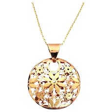 """Gorgeous 14 Karat Rose And Yellow Gold 20.75mn Floral Filigree Charm Pendant W/ 14K Yellow Gold 16"""" Chain Necklace. #L898."""