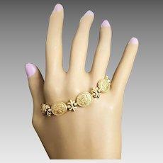 """Gorgeous Victorian Style 14 Karat Yellow Gold 10.95mm Fleur De Lis Link 7"""" Bracelet. #L892."""