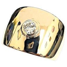 Unique Custom 14 Karat Yellow Gold 15.5mm Tapered VVS G 1/2 Carat Diamond Wedding Band Ring By Frederick Goldman #VR39.