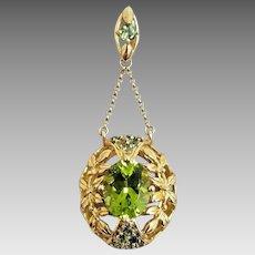 Gorgeous Handmade 14 Karat Yellow Gold 3.00 CTW Green Tourmaline Floral Dangle Pendant. #L903
