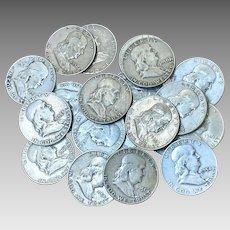 Lot of 12 Franklin Half Dollars 90% Silver Coins Nice All Full Dates  1948-1963 #DV06