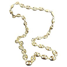 "Stunning Custom Handmade Italian 14 Karat Yellow Gold 12.5mm X 7.5mm Gucci Link 30"" Chain Necklace #V24."