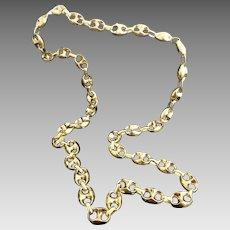 "Stunning Custom Handmade Italian 14 Karat Yellow Gold 12.5mm X 7.5mm Gucci Link 30"" Chain Necklace #V24."
