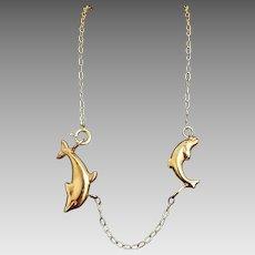 "Adorable Custom 14 Karat Yellow Gold Mom & Baby Dolphin 10.50"" Anklet Bracelet #V25."