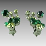 1950s Karu Arke Green & Yellow Rhinestone Clip On Earrings