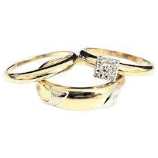 Beautiful Vintage 1950's 14 Karat Yellow & White Gold 1/4 Carat His & Hers Diamond Engagement Wedding Set #V12