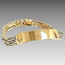 "Stunning Custom Handmade Solid 14 Karat Yellow Gold 10mm Unisex Engravable ID 8"" Bracelet #V19."