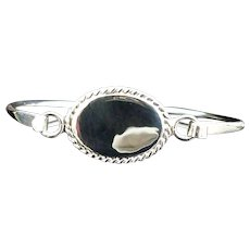 Beautiful Handmade 925 Sterling Silver Engravable 7in w/ Rope Oval ID Plate Bracelet Bangle. # VB37