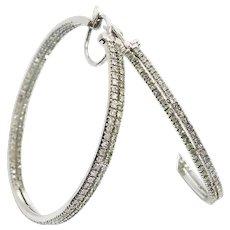 Gorgeous Custom 14 Karat White Gold 2.00 Carat Natural Fancy Green & White Diamond 17.25mm Inside Out Hoop Earrings #L901.